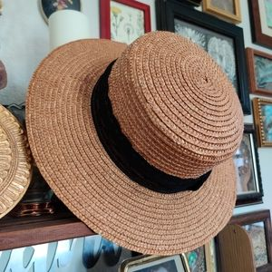 Super Cute Straw Hat with Black Lace